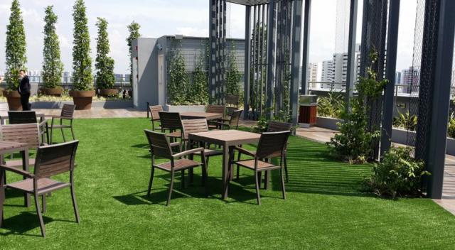 A rooftop garden from a restaurant